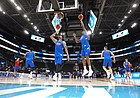 The Kansas big men work in the post on Wednesday, March 20, 2019 at Vivint Smart Home Arena in Salt Lake City, Utah. Teams practiced and gave interviews to media members before Thursday's opening round games.