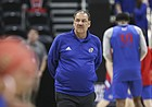 Kansas assistant coach Kurtis Townsend walks around the court during a shoot around on Wednesday, March 20, 2019 at Vivint Smart Home Arena in Salt Lake City, Utah. Teams practiced and gave interviews to media members before Thursday's opening round games.
