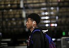 Kansas guard Ochai Agbaji (30) makes his way to the locker room as he and the Jayhawks arrive on Friday, March 22, 2019 at Vivint Smart Homes Arena in Salt Lake City, Utah.