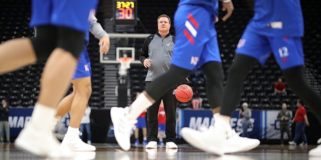 Kansas head coach Bill Self watches over practice on Wednesday, March 20, 2019 at Vivint Smart Home Arena in Salt Lake City, Utah. Teams practiced and gave interviews to media members before Thursday's opening round games.