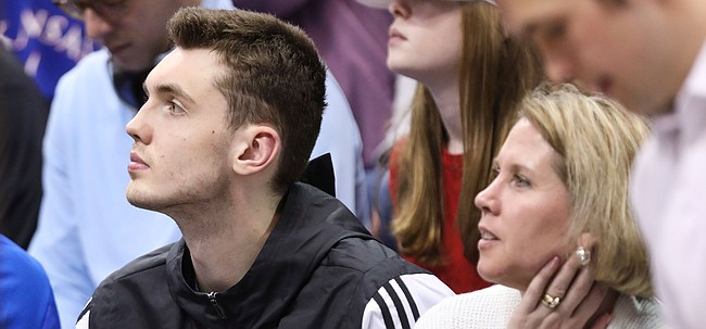 Kansas recruit Matthew Hurt watches the second half action on Saturday, Feb. 2, 2019 at Allen Fieldhouse.