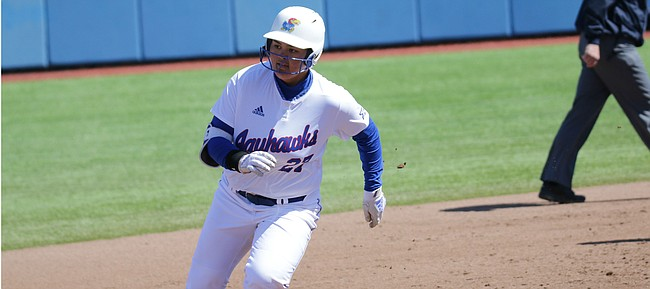 KU right fielder Jennifer Marwitz rounds third in its series finale against Baylor, March 31, 2019 at Arrocha Ballpark.