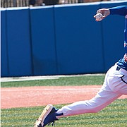 KU left-hander Eli Davis (44) throws a pitch during the series finale against Baylor at Hoglund Ballpark on Sunday, March 31, 2019.