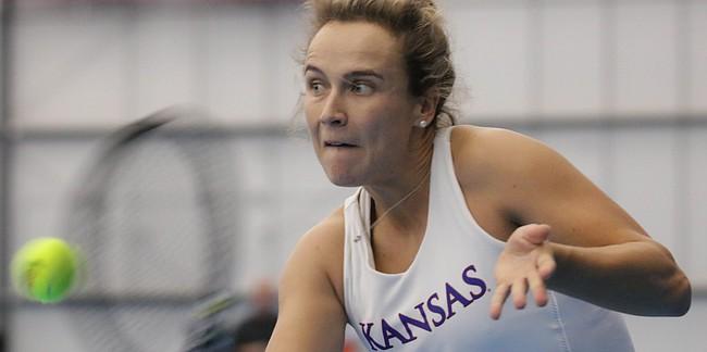 KU senior Janet Koch returns a ball in a match against Air Force Academy, at the Jayhawk Tennis Center,  February 24, 2019.
