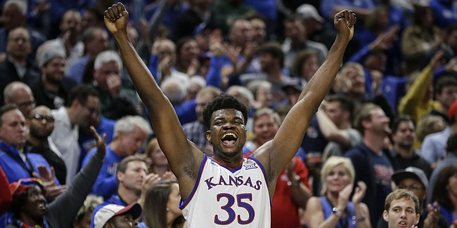 Kansas center Udoka Azubuike (35) reacts to Michigan State committing a foul late in the second half of an NCAA college basketball game at the Champions Classic on Tuesday, Nov. 6, 2018, in Indianapolis. Kansas won, 92-87.