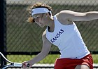 University of Kansas senior Anastasia Rychagova missed the 2018 NCAA Tournament due to rib injuries she suffered during her junior season. But Rychagova is back at her normal spot as the Jayhawks' No. 1 singles player for the 2019 tournament, with KU hosting first- and second-round matchups at Jayhawk Tennis Center at Rock Chalk Park. (Photo courtesy of Kansas Athletics)