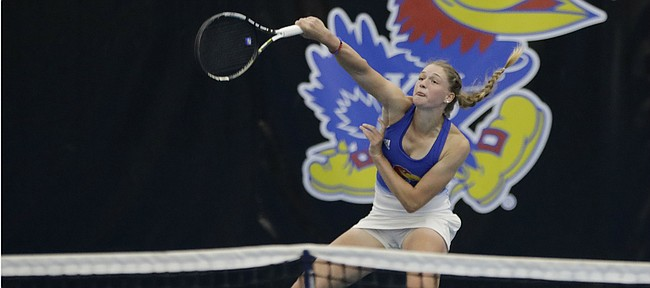 Kansas No. 5 single's player Nina Khmelnitckaia hits this return to claim a 6-3, 6-4 win on Court 5 for KU, and an overall 4-0 win over Denver in the first round of the NCAA Tournament on Friday, May 3, 2019, at Jayhawk Tennis Center at Rock Chalk Park. The Jayhawks advanced to play Florida in Round 2.