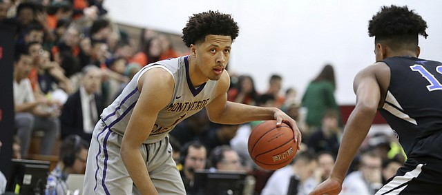 Montverde's Cade Cunningham #1 in action against NSU University School in a Boys Quarterfinal game at the Geico High School Basketball Nationals in the Queens borough of New York on Thursday, April 4, 2019. (AP Photo/Gregory Payan)