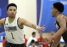 Devon Dotson, left, dribbles as Tremont Waters defends during the second day of the NBA draft basketball combine in Chicago, Friday, May 17, 2019. (AP Photo/Nam Y. Huh)