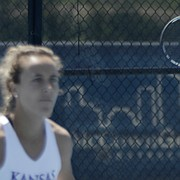 Kansas seniors Janet Koch, left, and Nina Khmelnitckaia, compete at No. 1 doubles on May 4, 2019, against Florida. Kansas won to advance to the NCAA Tournament's round of 16.