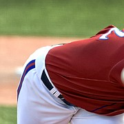 Kansas junior Ryan Zeferjahn keeps his eyes locked in on the spin of the ball during a KU baseball game in 2019. Zeferjahn, a native of Topeka, finished second in the Big 12 in strikeouts in 2019 and was the Jayhawks' ace throughout the season.