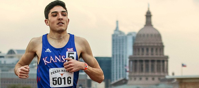 Kansas junior Bryce Hoppel running in the 800-meter during the Texas Relays on March 28 at Mike A. Myers Stadium in Austin, Texas. Hoppel takes a 17-race winning streak into the NCAA Outdoor Track & Field Championships.