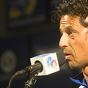 Kansas soccer coach Mark Francis talks about recruiting and how Rock Chalk Park influences recruits during KU fall sports media day Wednesday, Aug. 19, 2015, at Hadl Auditorium.