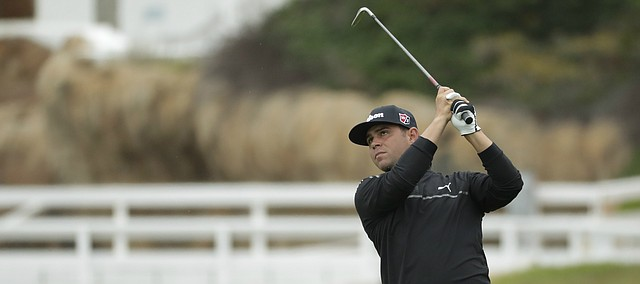 Gary Woodland hits from the fairway on the fourth hole during the second round of the U.S. Open Championship golf tournament Friday, June 14, 2019, in Pebble Beach, Calif.