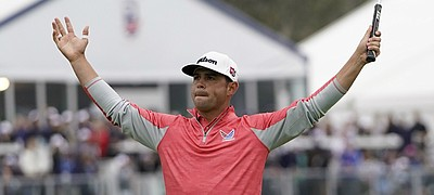 Gary Woodland celebrates after winning the U.S. Open Championship golf tournament Sunday, June 16, 2019, in Pebble Beach, Calif.