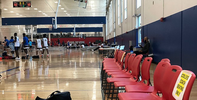 Seating reserved for college coaches at this weekend's Hardwood Classic AAU event at Sports Pavilion Lawrence was utilized less than in recent years because of new rules put in place by the NCAA for Division I coaches.