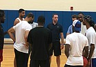 Former KU guard Brady Morningstar, shown here at center at the end of a team practice on Monday, July 22, 2019, has been given head coaching duties for the Self Made squad at this summer's The Tournament event. Self Made opens plays at 6 p.m. Thursday, July 25 at Koch Arena in Wichita.