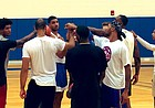 The Self Made squad comes together to finish off practice on Monday, July 22, 2019, at the KU practice gym.