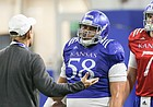 Kansas head coach Les Miles talks with offensive lineman Api Mane and quarterback Thomas MacVittie on Thursday, April 4, 2019 at the indoor practice facility.