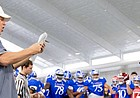 Kansas head coach Les Miles calls out players to go head-to-head in the Jayhawk drill during practice on Thursday, Aug. 8, 2019.