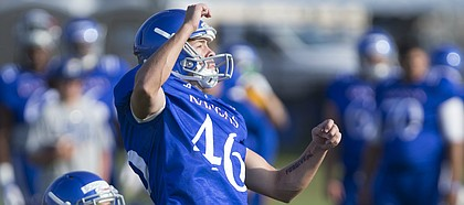 Kansas kicker Liam Jones watches one of his kicks during practice with the special teams unit on Friday, Aug. 11, 2017 at the practice fields west of Hoglund Ballpark.