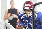 Kansas running back Khalil Herbert makes a move during practice on Thursday, Aug. 8, 2019.