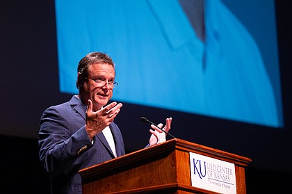 Kansas coach Bill Self shares his memories of late KU broadcaster Max Falkenstien with the 1,000 admirers who showed up at the Lied Center on Saturday, Aug. 24, 2019, for Falkenstien's celebration of life.
