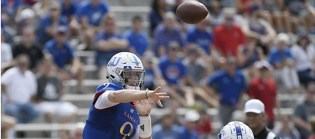 Kansas quarterback Carter Stanley throws the ball to a teammate against Indiana State Saturday afternoon at David Booth Kansas Memorial Stadium on Aug. 31, 2019.