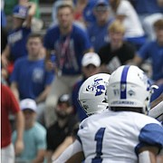 Kansas wide receiver Andrew Parchment reaches out for a reception against Indiana State Saturday afternoon at David Booth Kansas Memorial Stadium on Aug. 31, 2019.