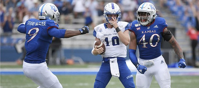 Kansas linebacker Dru Prox celebrates a sack against Indiana State Saturday afternoon at David Booth Kansas Memorial Stadium on Aug. 31, 2019.