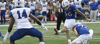 Kansas kicker Liam Jones connects for a field goal against Indiana State Saturday afternoon at David Booth Kansas Memorial Stadium on Aug. 31, 2019.