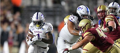 (Boston, MA, 09/13/19) Kansas Jayhawks running back Pooka Williams Jr. (1) carries the ball against the Boston College Eagles during the first half of an NCAA football game at Boston College in Boston, Mass., on Friday, September 13, 2019.