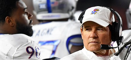 (Boston, MA, 09/13/19) Kansas Jayhawks head coach Les Miles look back to the sidelines during a timeout in the second half of an NCAA football game against Boston College in Boston, Mass., on Friday, September 13, 2019.