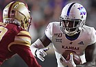 (Boston, MA, 09/13/19) Boston College Eagles defensive back Elijah Jones (20), left, tries to contain Kansas Jayhawks wide receiver Daylon Charlot (2) during the first half of an NCAA football game at Boston College in Boston, Mass., on Friday, September 13, 2019.