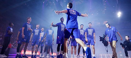 Mitch Lightfoot is introduced during Late Night in the Phog on Friday, Oct. 4, 2019 at Allen Fieldhouse.