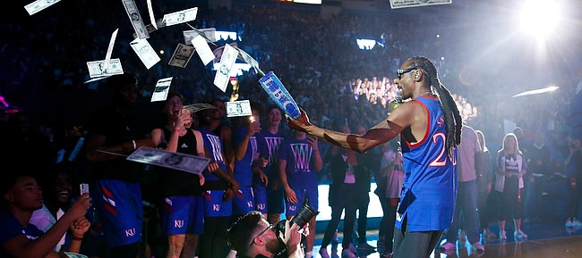 Rapper Snoop Dogg performs for the Allen Fieldhouse crowd during Late Night in the Phog on Friday, Oct. 4, 2019 at Allen Fieldhouse.