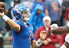 Kansas quarterback Carter Stanley (9) throws to a receiver during the first quarter on Saturday, Oct. 5, 2019 at Memorial Stadium.