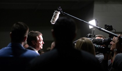 Kansas head coach Bill Self talks with media members during Big 12 Media Day on Wednesday, Oct. 23, 2019 at Sprint Center in Kansas City.
