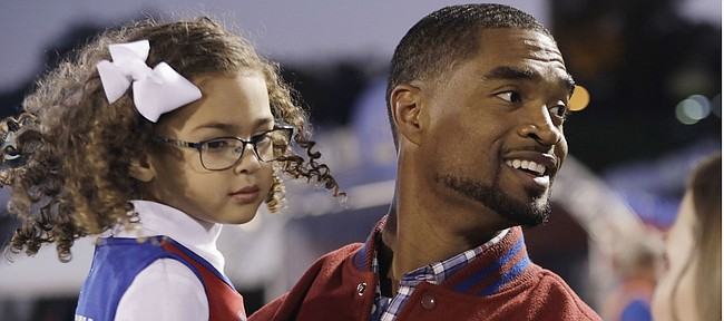 Former Kansas football player Darrell Stuckey's name was added to the Ring of Honor during the Kansas-Texas Tech game at Memorial Stadium, on October 26, 2019.