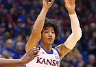 Kansas forward Jalen Wilson (10) passes during the first half, Thursday, Oct. 31, 2019 at Allen Fieldhouse.