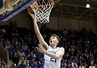Duke's Matthew Hurt (21) jumps for a layup during an NCAA college basketball game against Northwest Missouri State in Durham, N.C., Saturday, Oct. 26, 2019.