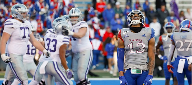 Kansas cornerback Hasan Defense (13) lifts his head in frustration after another Kansas State touchdown by running back Joe Ervin during the fourth quarter on Saturday, Nov. 2, 2019 at Memorial Stadium.