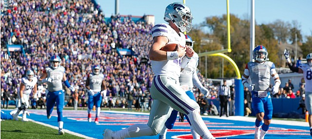 Kansas State quarterback Skylar Thompson (10) runs into the end zone for a touchdown during the first quarter on Saturday, Nov. 2, 2019 at Memorial Stadium.