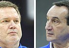 Kansas coach Bill Self, left, and Duke coach Mike Krzyzewski, right, will square off in their seventh head-to-head matchup on Tuesday night in the Champions Classic in New York City.