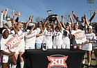 Kansas soccer celebrates its first Big 12 Championship title in program history. KU defeated TCU 1-0 on Sunday, Nov. 10.