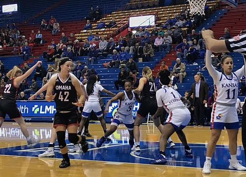 KU women's basketball overcomes slow start to defeat Omaha 63-48