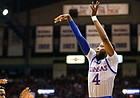 Kansas guard Isaiah Moss (4) puts up a three from the corner during the first half on Friday, Nov. 15, 2019 at Allen Fieldhouse.
