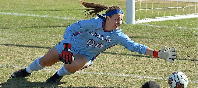 KU sophomore goalkeeper Sarah Peters makes a diving save against TCU during the Big 12 Soccer Championship at Children's Mercy Victory Field in Kansas City, Missouri on November 10, 2019. (Scott D. Weaver/Big 12 Conference)