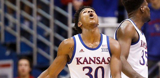 Kansas guard Ochai Agbaji (30) reacts to being whistled for a foul during the first half on Tuesday, Nov. 19, 2019 at Allen Fieldhouse.