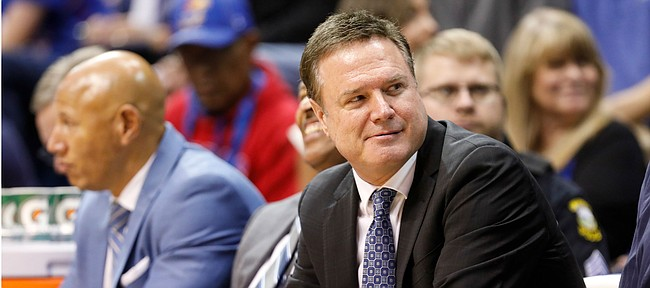Kansas head coach Bill Self looks down the bench after Kansas center Udoka Azubuike opted to drive up the court with the ball during the second half on Friday, Nov. 15, 2019 at Allen Fieldhouse.